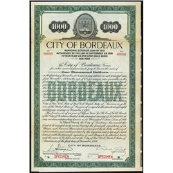 City of Bordeaux Loan of 1919 Specimen Bond.