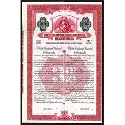 Credito Hipotecario Nacional de Guatemala Specimen Bond. 1939.