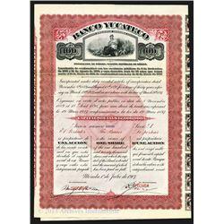 Banco Yucateco, 1907 Specimen Bond.