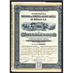 Bancaria de Fomento y Bienes Raiges de Mexico Issued Bond. 1910.