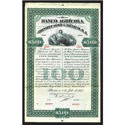 Banco Agricola Hipothecario de Mexico Specimen Bond. 1907.