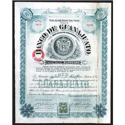 Banco de Guanajuato Issued Share. 1906.