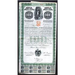 Banco de Londres y Mexico Issued Bond. 1905.