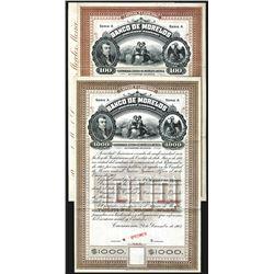 Banco de Morelos. Specimen Bonds. 1903.