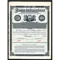 Banco de Nuevo Leon. Specimen Bond. 1900.