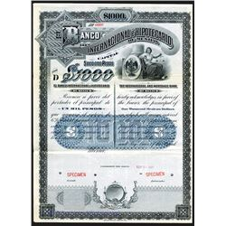 Banco Internacional e Hipotecario De Mexico, 1907 Specimen 6% Bond.