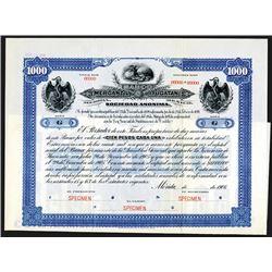 Banco Mercantil de Yucatan 1906 Specimen Stock-Bond.