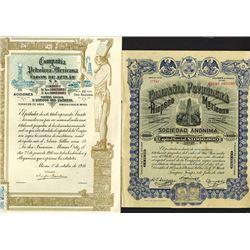 Compania Petrolera Mexicana Faros de Aztlan Issued Shares. 1914-16.