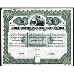 El Banco Internacional e Hipotecario De Mexico, 1911 Specimen 5% Bond.