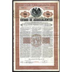 Estado De Aguascalientes, 1910 Specimen Bond.