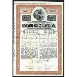 Estado de Zacatecas Specimen Bond. 1907.