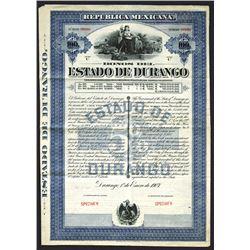 Estado Durango Specimen Bond. 1907.