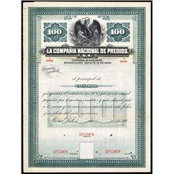 La Compania Nacional de Predios, S.A. Specimen Bond.