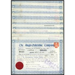 Anglo-Palestine Co, Ltd., 1909-1910 Issued and Cancelled Share Certificate Group.