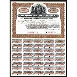 "Republica de Panama, 1933 Specimen ""Bonos De Conversion 1933-1943"" Bond."