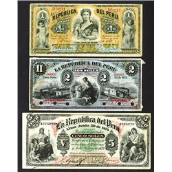 Republic del Peru June 30, 1879 Bank Note Specimen and Issued Grouping.