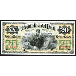 Republic del Peru June 30, 1879 Bank Note Specimen.