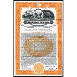 Republic of Peru 1928 Specimen Bond.