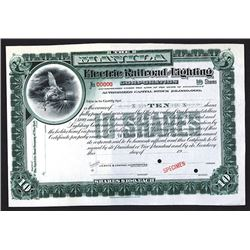 Manila Electric Railroad & Lighting Corporation Specimen Shares. 1903.