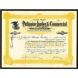 Philippine Lumber & Commercial Co., 1903 Issued Stock Certificate.