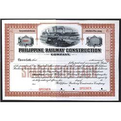 Philippine Railway Construction Co., 19xx ca.1900, Specimen Stock Certificate.
