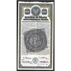 Republic of Poland Specimen Bond with Repeal of the Gold Standard Notice on Front. 1920.