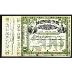 Credito y Ahorro Ponceno, 1893 Specimen Bond.