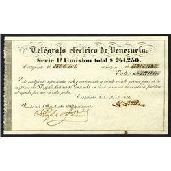 Telegrafo Electrico De Venezuela, 8 Shares of Stock, Issued in 1866.