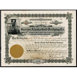 Grecian Alaska Gold Dredging Company Stock Certificate.