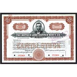 Mother Lode Copper Mines of Alaska Specimen Shares. CA 1920.