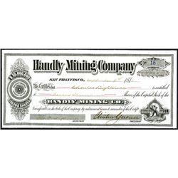Handily Mining Company Issued Shares. 1878.