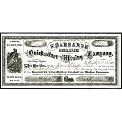 Kearsarge Consolidated Quicksilver Mining Company Issued Shares. 1875.