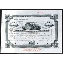 Standard Consolidated Mining Co. 1881 Proof Stock Certificate with Coin Vignette.