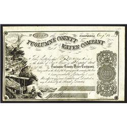 Tuolumne County Water Company Issued Shares. 1858.