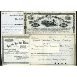 Canadian Stock and Bond Assortment with Additional Certificates from Cuba and Belgium.