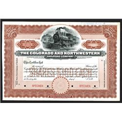 Colorado and Northwestern Railroad Specimen Shares. 1904.