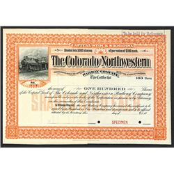 Colorado and Northwestern Railway Specimen Shares. 1897.