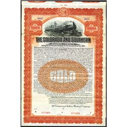 Colorado and Southern Railway Co., 1905 Specimen Bond.