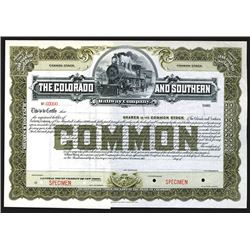 Colorado and Southern Railway Specimen Shares. Early 1900s.