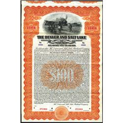 Denver and Salt Lake Railroad Co., 1913 Specimen Bond.