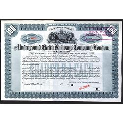 Underground Electric Railways' Company of London, Ltd. 1902 Specimen Stock Certificate.