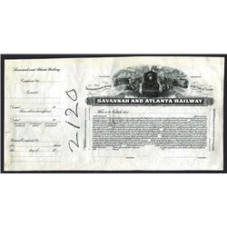 Savannah and Atlanta Railway., ND ca.1900-1920 Proof Stock Certificate.