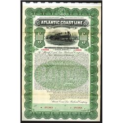 Atlantic Coast Line Railroad Co., 1902 Specimen 50 Year 4% Gold Coupon Bond.