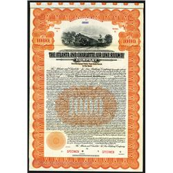Atlanta and Charlotte Air Line Railway Co., 1914, $1000 Specimen Bond.