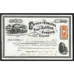 Chester & Tamaroa Coal & Rail Road Company Issued Shares. 1870.