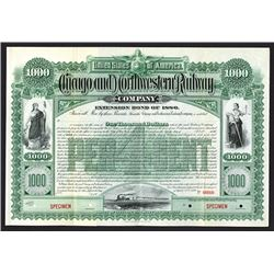 Chicago and Northwestern Railway Specimen Bond. 1886.