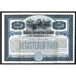 Chicago, Burlington & Quincy Railroad Co., 1908 Specimen Bond.