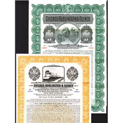 Chicago, Burlington & Quincy Railroad Co., Lot of 2 $1000 Specimen Bonds.