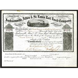 Jacksonville, Alton & St, Louis Rail Road Issued Shares. 1857.