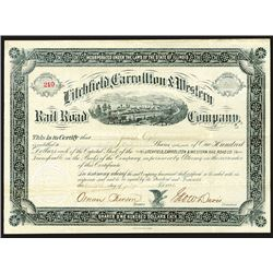 Litchfield, Carrollton & Western Rail Road Company Issued Shares. 1883.